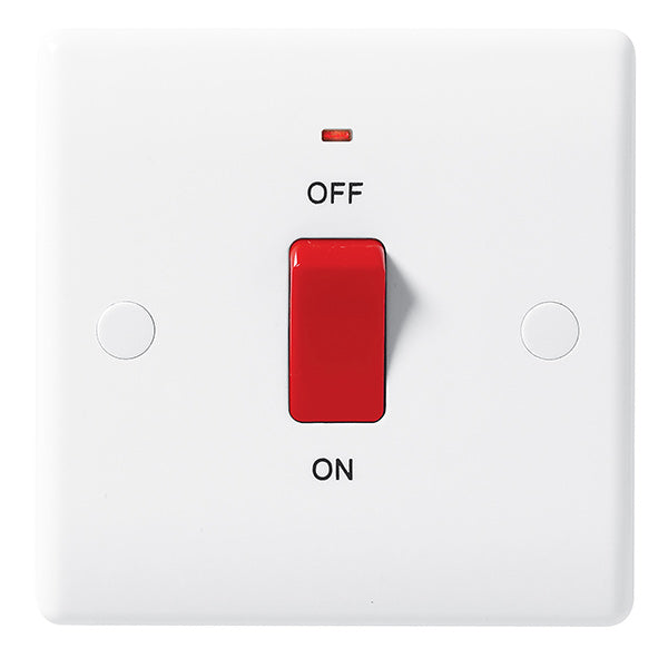 White Moulded Slimline 45A Double Pole 1 Gang Switch with Neon