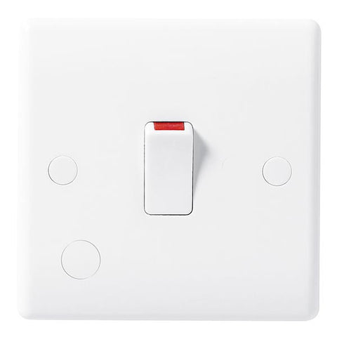 White Moulded Slimline 20A Double Pole Switch with Flex Outlet