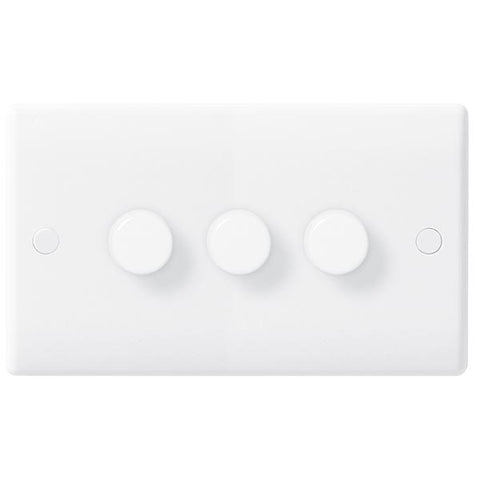 White Moulded Slimline 3 Gang 2 Way Push Dimmer