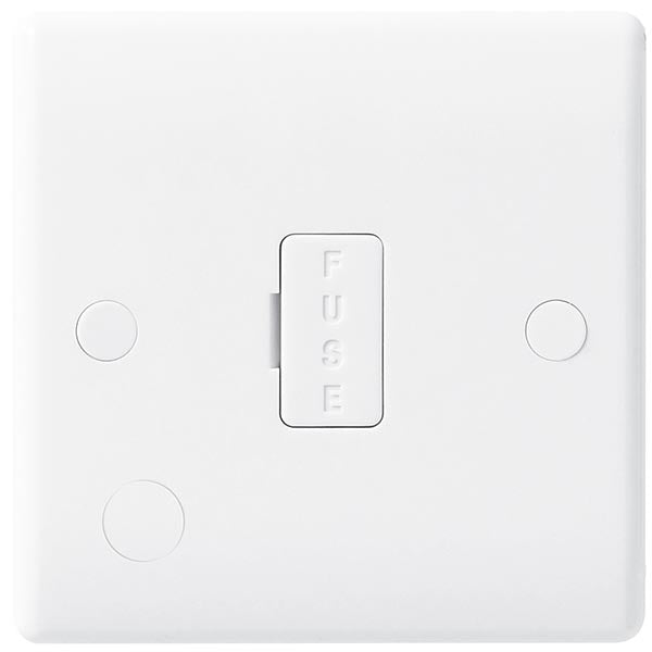 White Moulded Slimline 13A Unswitched Fused Spur with Flex Outlet