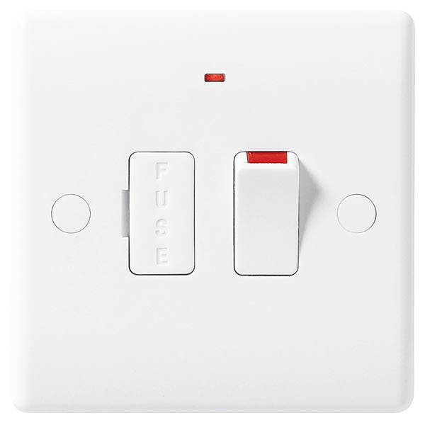 White Moulded Slimline 13A Switched Fused Spur with Neon