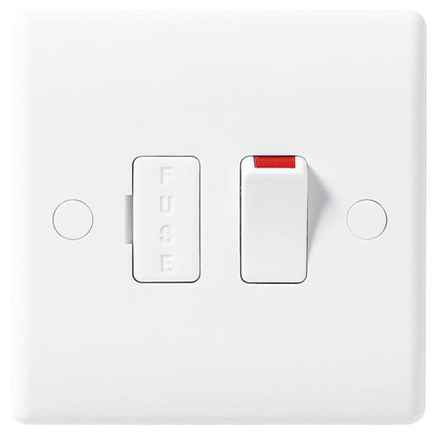 White Moulded Slimline 13A Switched Fused Spur
