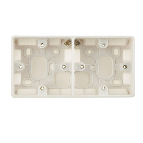 Dual 37mm White Moulded Surface Box