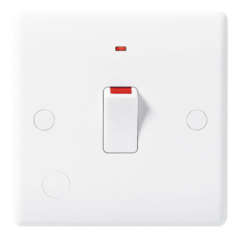 White Moulded Slimline 20A Double Pole Switch with Neon & Flex Outlet