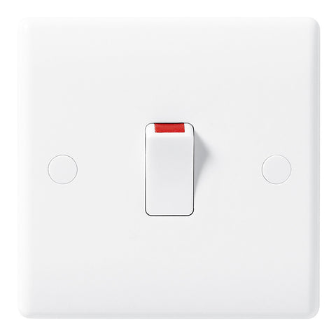 White Moulded Slimline 20A Double Pole Switch
