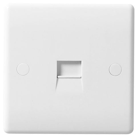 White Moulded Slimline 1 Gang Secondary Telephone Socket