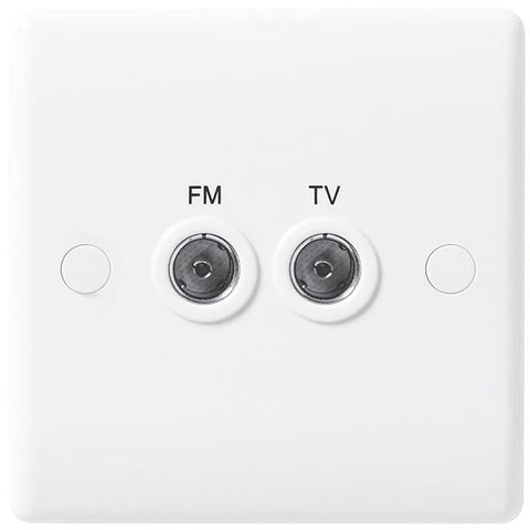 White Moulded Slimline 2 Gang Diplex TV/FM Socket