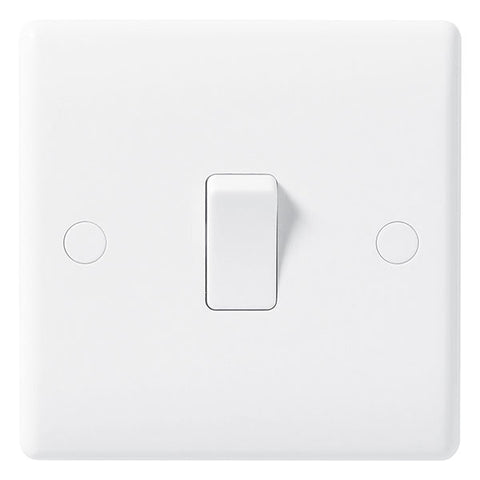 White Moulded Slimline 1 Gang 1 Way Switch 10A