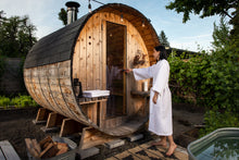Load image into Gallery viewer, RETREAT 4-6 person Canopy Electric or Wood Stove Barrel Sauna