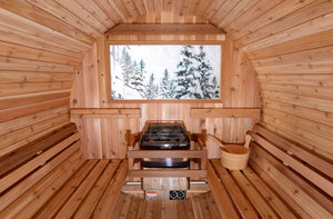 RETREAT 4-6 person Canopy Electric or Wood Stove Barrel Sauna