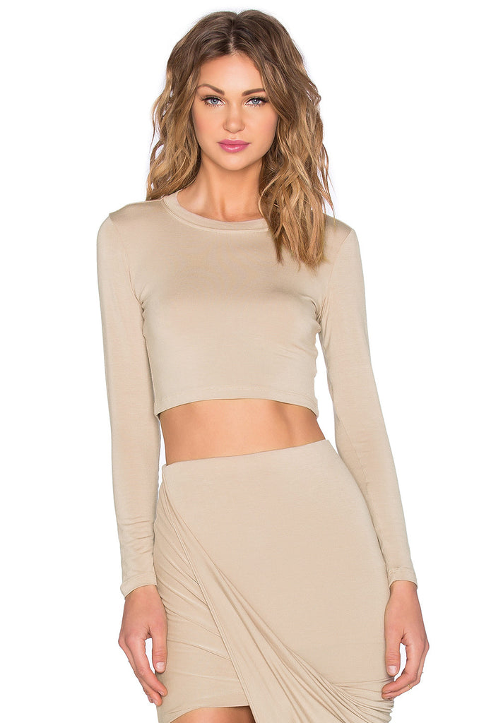 BLQ Long Sleeve Crop Top - Flesh