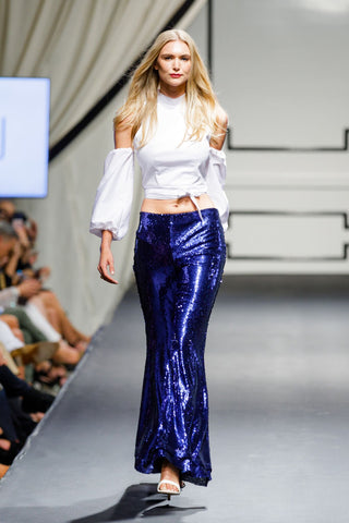 BAANOU The Label Alessandra Bell-Bottom Pants Indigo Sequin Stretch