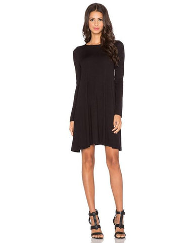 BLQ L/S Midi Swing Dress - Black