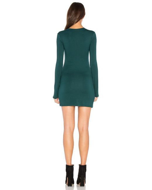 BLQ L/S Mini Dress - Forest Green
