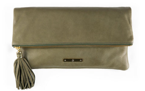 Shanaz Olive Convertible Clutch Bag