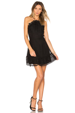 Karina Grimaldi Benjamin Lace Mini Dress Black