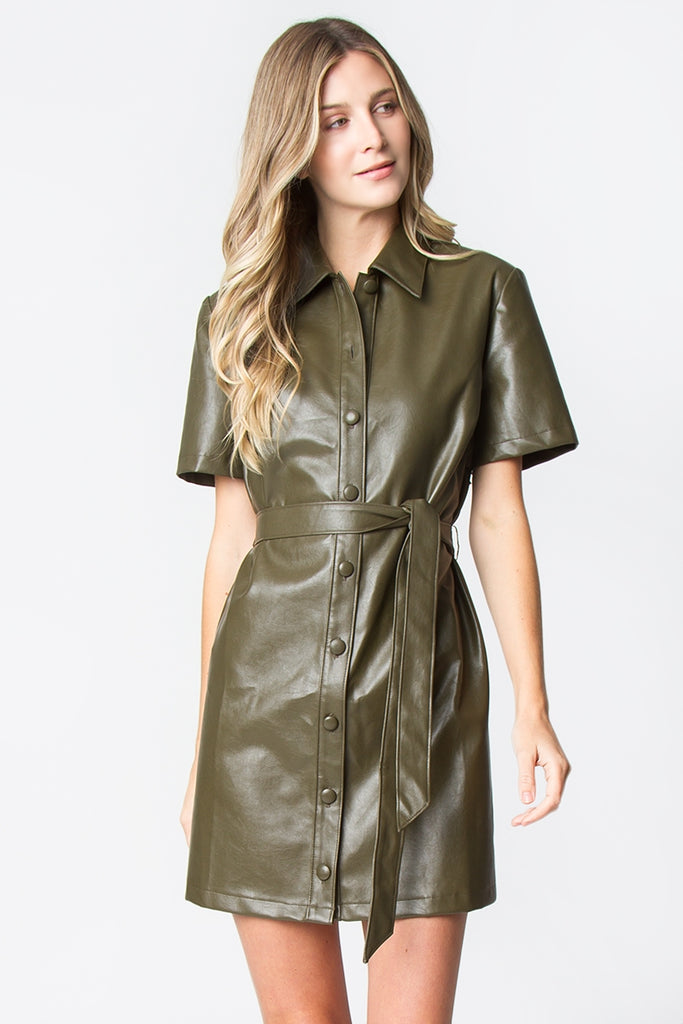 Linda Leather Button Down Dress