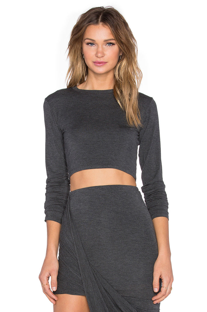 BLQ Long Sleeve Crop Top - Charcoal