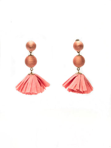Coral Drop Ball Earrings