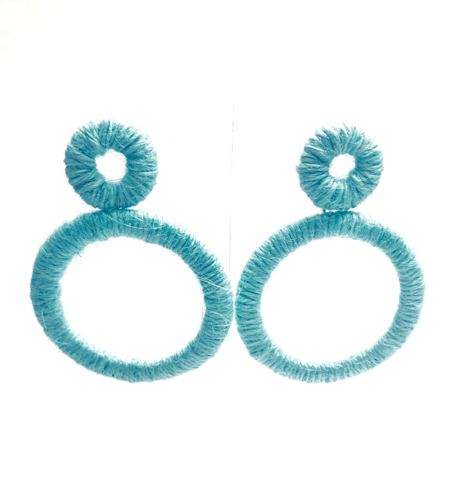Teal Double Circle Drop Earrings