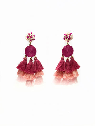 Pink Trio Beaded Drop Ball and Tassel Earrings