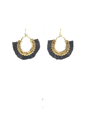 Black and Gold Fringe Earrings