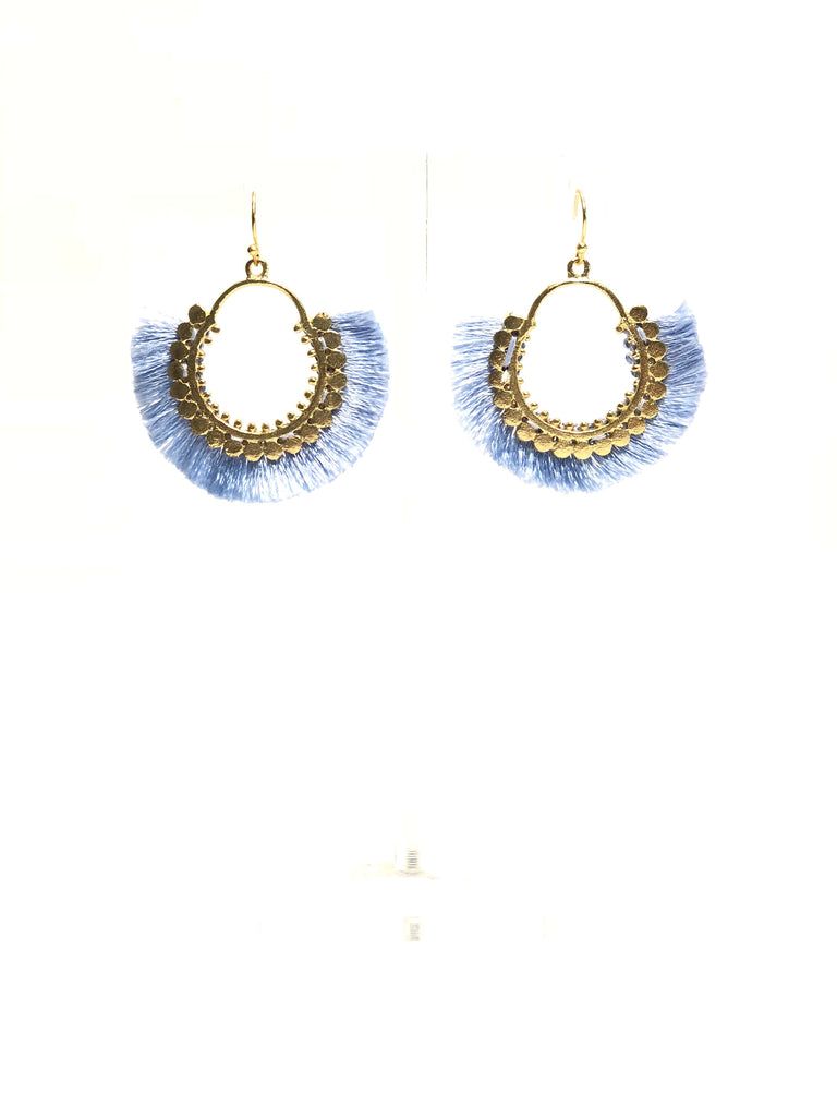 Blue and Gold Fringe Earrings