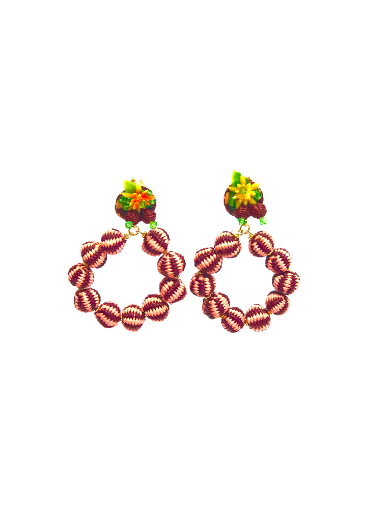 La Quijana Earring Red and Pink Filigree