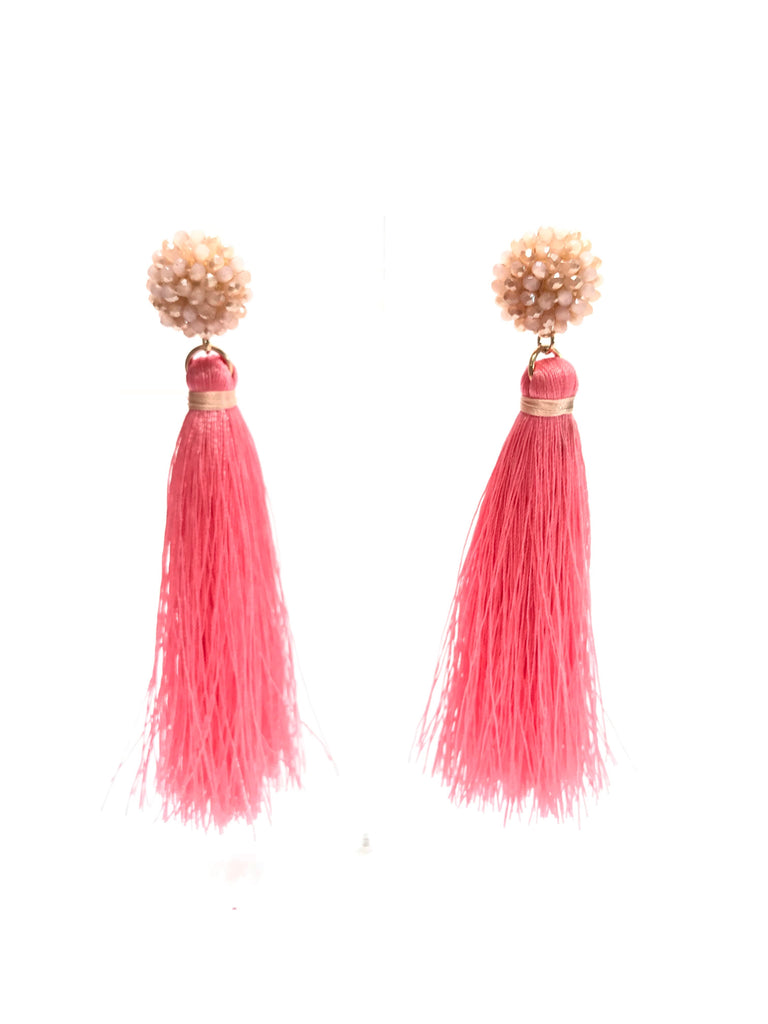 Coral Beaded Sphere and Tassel Earrings