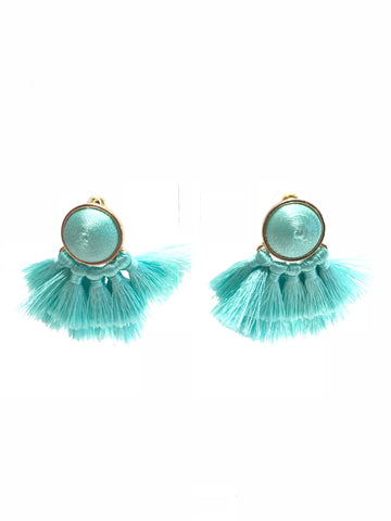 Teal Sphere and Mini Tassel Earrings