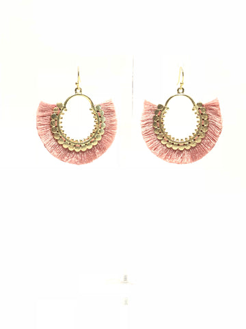 Gold and pink Fringe Earrings