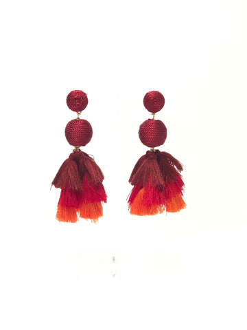 Red Drop Ball Multi Colored Tiered Tassel Earrings