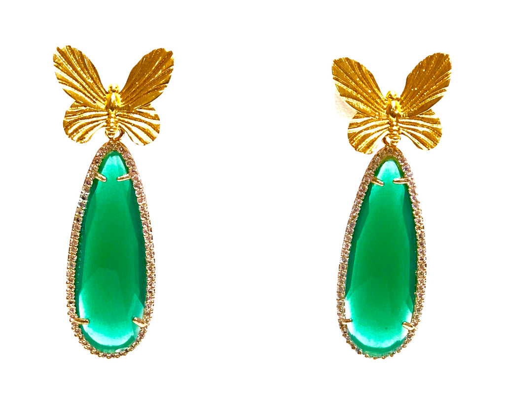 Luumahn Emerald Green and Gold Butterly Earring