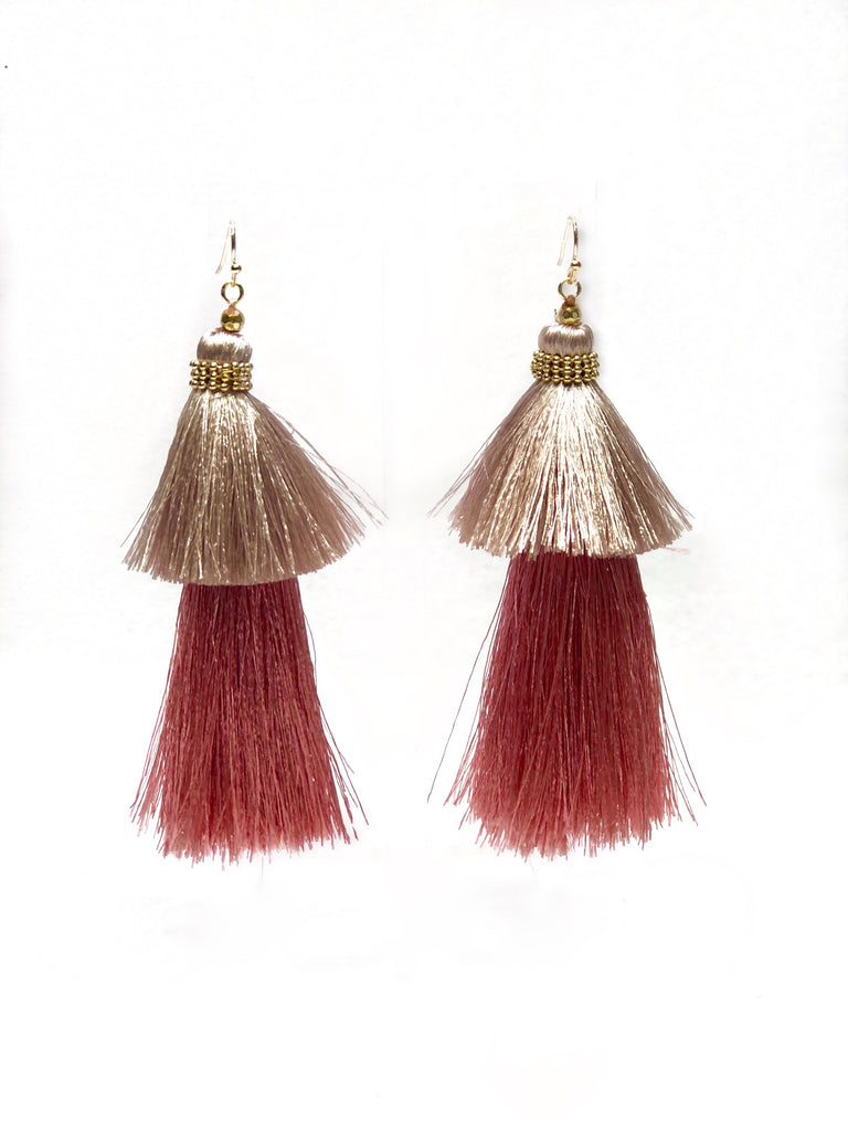 Blush Tiered Tassel Earrings
