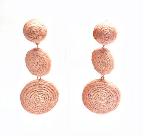 Baby Pink Three Circle Drop Earrings