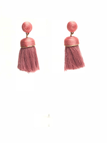 Pink Sphere and Tassel Earrings
