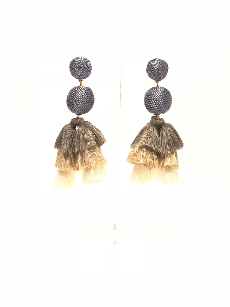 Grey and Beige Drop Ball Multi Color Tiered Tassel Earrings