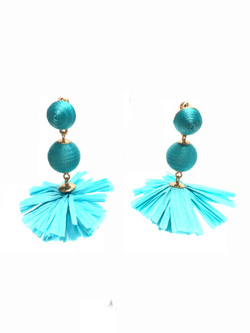 Teal Drop Ball Earrings