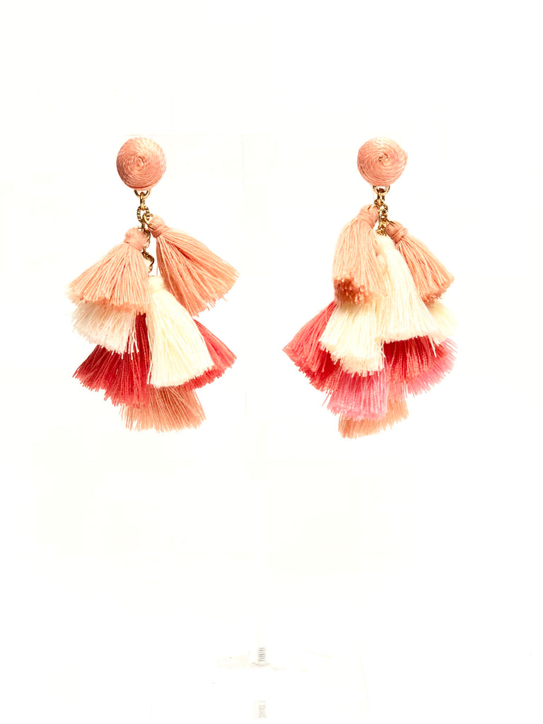 Pink Multi Color Tassel Earrings