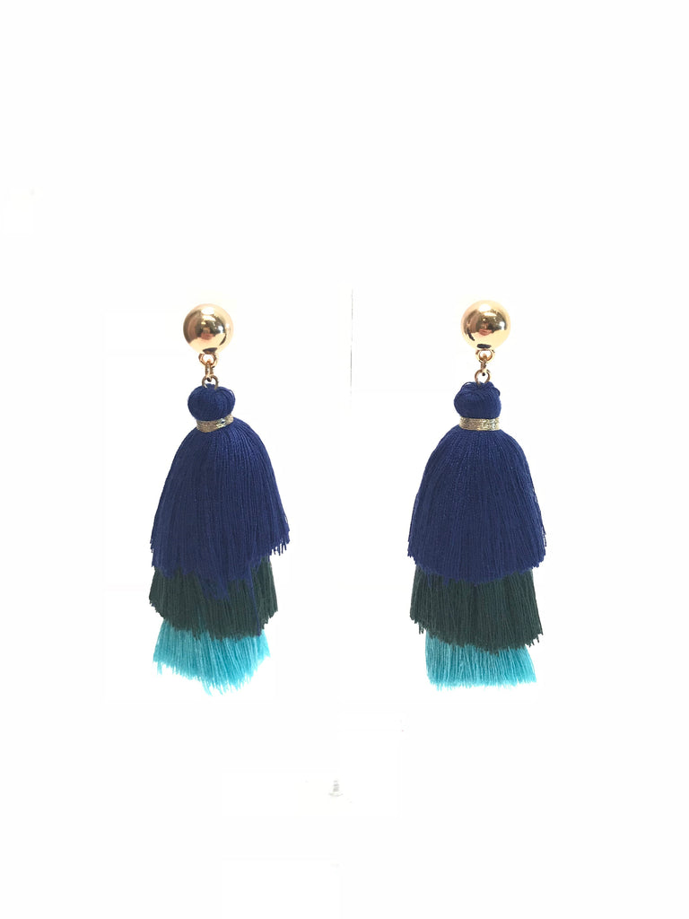 Blue Green and Teal Tiered Tassel Earrings