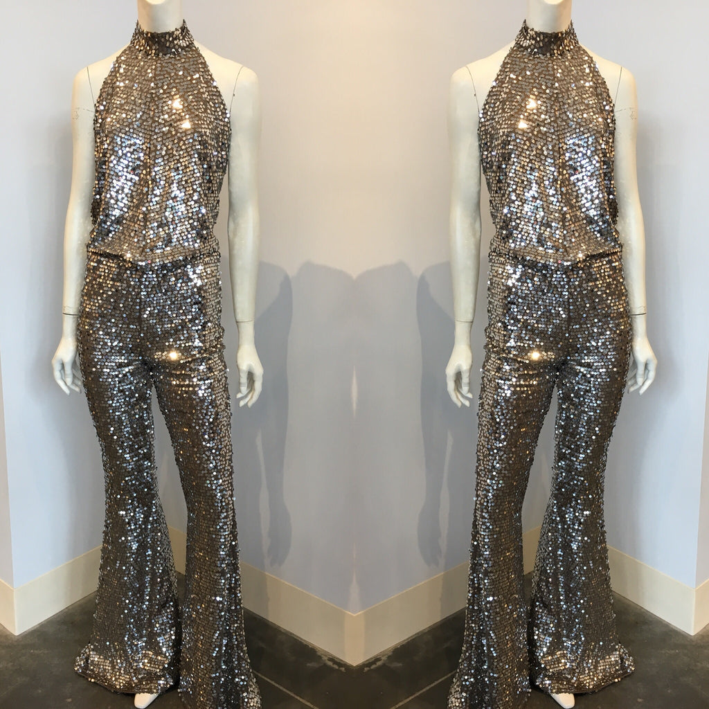 BAANOU The Label Alessandra Sequin Jumpsuit in Silver/Taupe