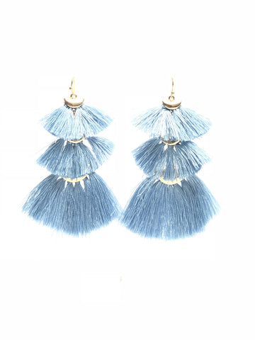 Blue Tiered Fringe Earrings