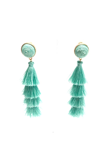 Teal Tiered Tassel Earrings