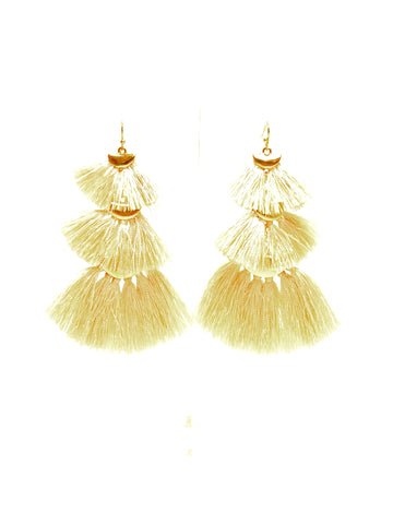 Beige Tiered Fringe Earrings