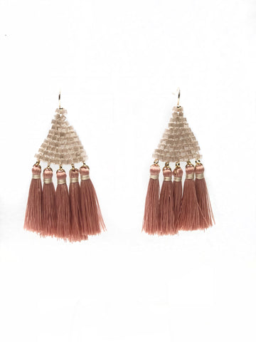 Blush Bead and Tassel Earrings