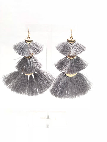 Grey Tiered Fringe Earrings