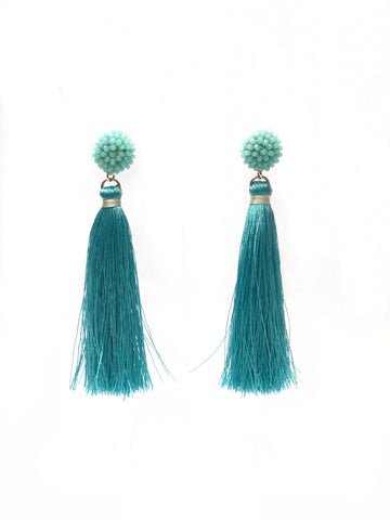 Teal Beaded Sphere and Tassel Earrings