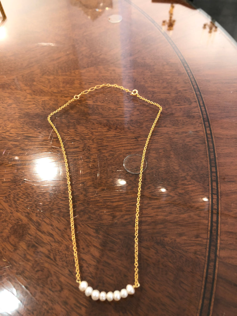 LUUMAHN gold plated band/pearl necklace