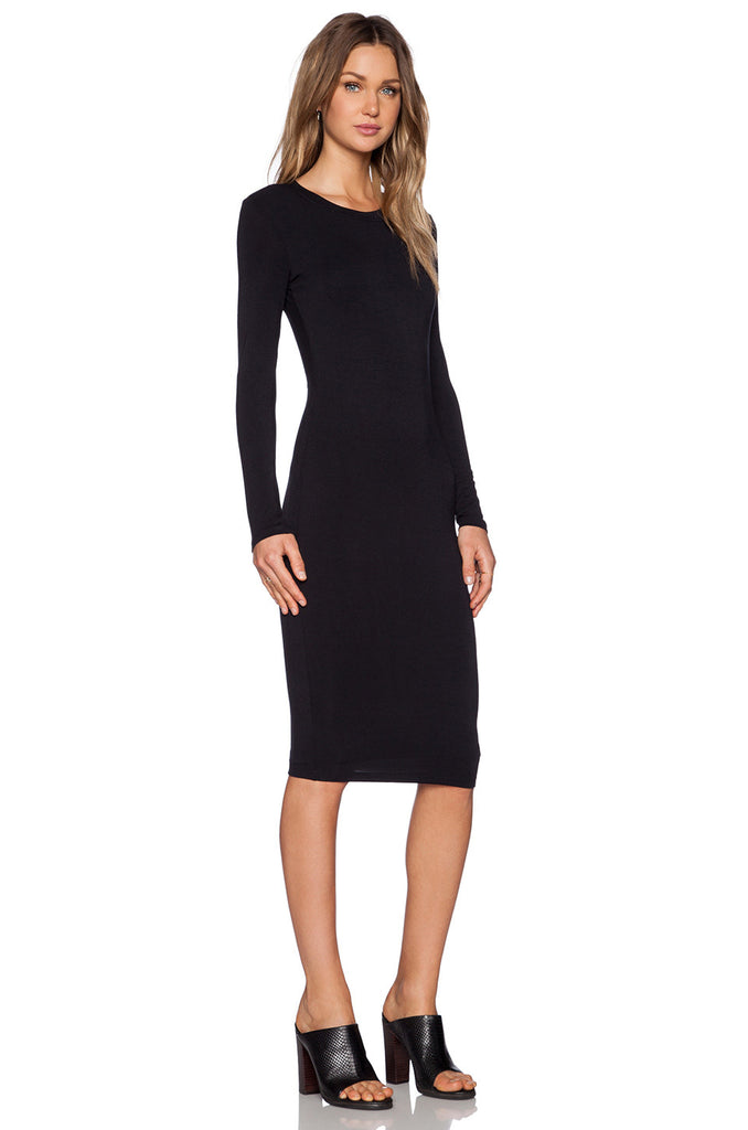 BLQ Fitted L/S Midi Dress - Black