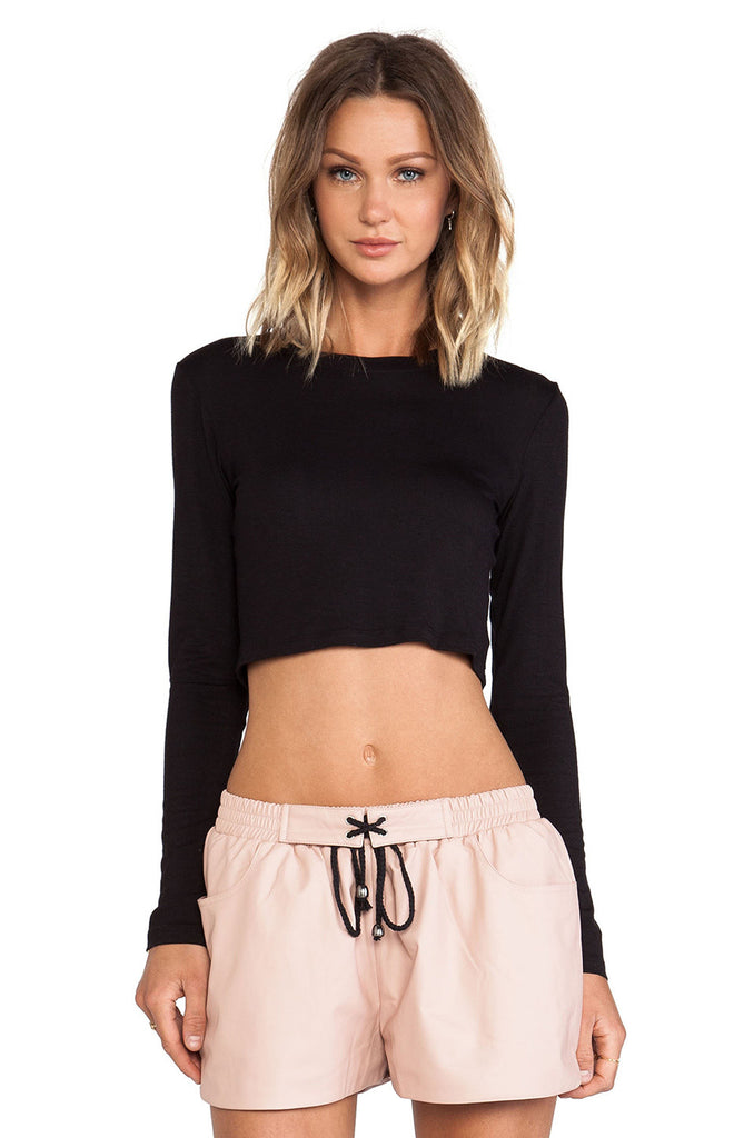 BLQ Long Sleeve Crop Top - Black